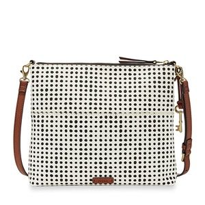 Fossil Fiona Large Crossbody White/Black